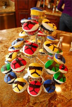 Power Ranger cupcakes fro Cayden's 6th B-day