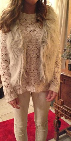 Winter outfit #christmas.   #fur.