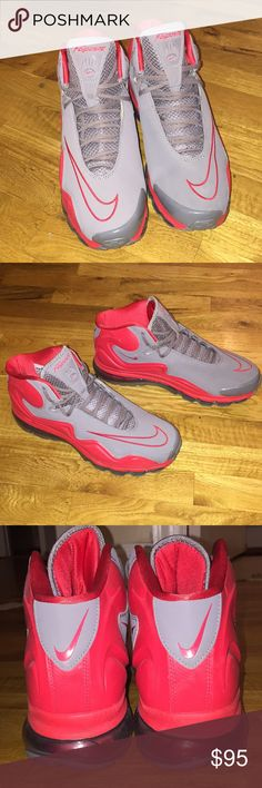 Nike Air Flyposite Cool Gray/Hyper Red - 12 Deadstock from 1-23-2013! These shoes were only worn twice. Nike Air Flyposite. Size 12. Color: Cool Gray/ Hyper Red!! See photos. Comes without box Nike Shoes Athletic Shoes