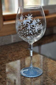 Hand Painted Snowflake Wine Glass by AllThatShinesDesigns on Etsy, $18.95