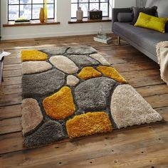 Noble House Grey Yellow Rug by Think Rugs Yellow Rug, Yellow Area Rugs, Grey Yellow, Yellow Ceiling, Modern Carpet, Modern Rugs, Rugs In Living Room, Living Room Designs, Grey And Yellow Living Room