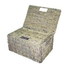 Grey Woven Grass Storage Baskets (2) $35