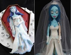 corpse bride cake topper by Verusca Walker right and corpse bride in coffin by Sprinkle Bakes left (with tutorial).