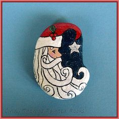 Father Christmas painted rock