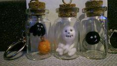 Needlefelt tiny scary bottled halloween keyrings.  Bat & Pumpkin Pal. Skull & Bones Spider Exclusively made for consciouscrafties.