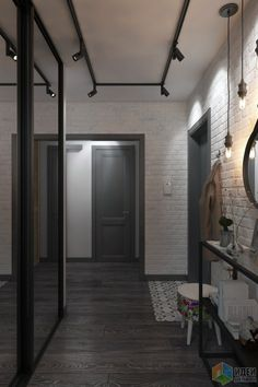 Квартира 55 кв. м в скандинавском стиле в старом доме на Кожуховской Modern Entrance Door, Home Entrance Decor, House Entrance, Coridor Design, Door Design, House Design, Decoration Entree, Living Room Entertainment Center, Dressing Room Design