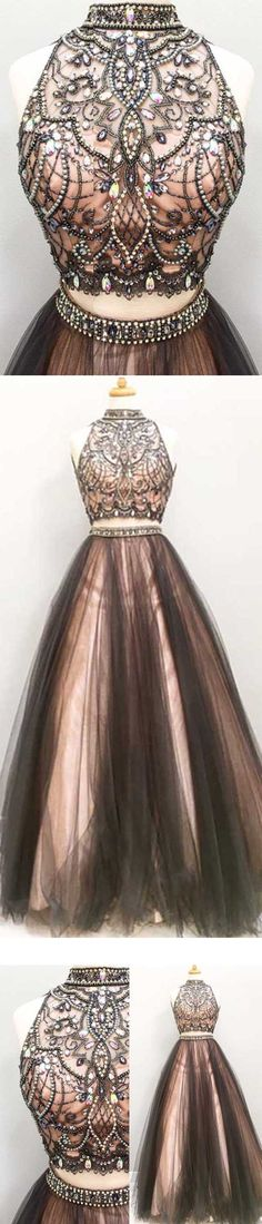long prom dress, two pieces prom dress, black prom dress, high neck prom dress, beaded top prom dress, evening gown, PD15198 #prom #promdress #dress #eveningdress