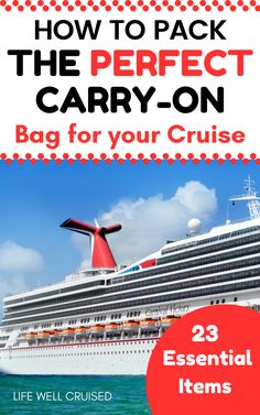 Be prepared for your cruise with these cruise carry on bag packing tips. The ultimate embarkation bag packing checklist so you bring everything you need for the first day of your cruise vacation! No matter how many times you cruised, (new cruisers too), you'll love these cruise packing tips and hacks! Cruise Checklist, Packing List For Cruise, Cruise Tips, Cruise Port, Cruise Travel, Cruise Vacation, Vacations, Cruise Ship Reviews, Best Cruise Ships