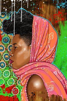 """Bassa Girl"" - Maxwell Dickson, 2012 {contemporary figurative artist female head african-american black woman face profile portrait painting drips art}"