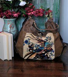Large Leather and Needlepoint Hobo Bag with Bird Image