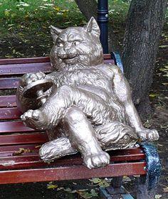 "Behemoth from ""The Master and Margarita"" by M. The Master And Margarita, Popular Culture, Cat Art, Garden Sculpture, Outdoor Decor, Modern, Teachers, Novels, Gatos"
