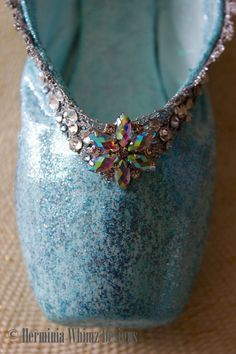 Snow Queen Decorated Pointe Shoe by HerminiaWhimzDesigns on Etsy