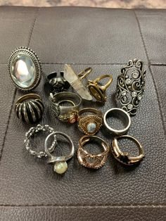 vintage ring lot on Mercari Grunge Jewelry, Funky Jewelry, Hippie Jewelry, Cute Jewelry, Jewelry Rings, Jewelry Accessories, Jewlery, Mode Punk, Estilo Hippie