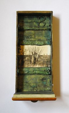 Topo says, 'Study this and create one of your own out of one of your saved drawers…. 1 by Tomcra Found Object Art, Found Art, Mixed Media Collage, Collage Art, Collages, Arte Assemblage, Foto Transfer, Shadow Box Art, Encaustic Art