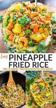 ThisPineapple Fried Rice recipe is filled with hearty veggies and flavorful seasonings and will rock your world! Take your dinner table on a trip to Thailand with this 30-minute sweet and savory fried rice! Freezer-friendly, gluten-free and includes grain-free, paleo, vegan and low carb keto options. Pineapple Fried Rice, One Pot Dinners, Free Plus, Breakfast Snacks, Low Carb Keto, Allrecipes, Grain Free, Slow Cooker, Paleo