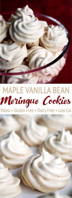 These maple vanilla bean meringue cookies are completely paleo! Maple syrup replaces refined sugar to create these fluffy, irresistible cookies! Paleo, gluten free, dairy free, Christmas cookies. https://www.pinterest.com/pin/113012271883778263/