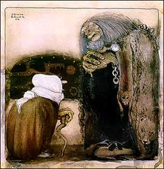 John Bauer (June 4, 1882 – November 20, 1918) was a Swedish painter and illustrator best known for his illustrations of Bland tomtar och troll (Among Gnomes and Trolls). Princess Tuvstarr and the Fishpond (named after Carex cespitosa), painted in 1913, is perhaps Bauer's most notable work..'Somehow Bauer's trolls, no matter how twisted and ugly, weren't frightening. Even when they were performing dastardly deeds or were the size of a mountain, there were drawn with gentle humor and…