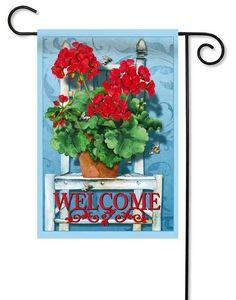 "Geranium Welcome Decorative Garden Flag - 12.5"" x 18"" - 2 Sided Message - Evergreen"
