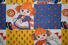 Vintage 1970s cotton fabric with so cute Raggedy Ann print. ♥measures approx. 24-25 x 44 wide, cut unevenly up the sides, has a small piece cut