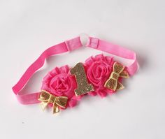 Pink and Gold Number Headband/ Pink and Gold 1st Birthday/ First Birthday ideas/ 1st Birthday Outfit/ Cake Smash headband/Birthday Bow by YouMeJP on Etsy