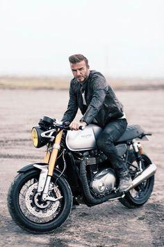 David Beckham and the 2016 Triumph Bonneville Triumph Motorcycles, Vintage Motorcycles, Custom Motorcycles, Custom Bikes, Vintage Bikes, Retro Vintage, Motocross, Triumph Bonneville, Triumph T100