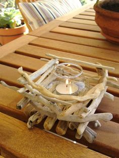 Driftwood Candle Holder - Fort the beach house