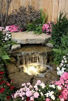 Perfect small garden waterfall and pond . - Perfect small garden waterfall and pond - Outdoor Water Features, Water Features In The Garden, Small Water Features, Backyard Water Feature, Ponds Backyard, Backyard Ideas, Pond Ideas, Water Falls Backyard, Koi Ponds