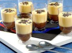 Receita de Dueto de maracujá e brigadeiro - Ingredientes, Brigadeiro, • meia lata de leite condensado, • 2 colheres (sopa) de chocolate em pó, • 1 colher (chá) de margarina sem sal, • meia lata de creme de leite, • 2 colheres (sopa) de chocolate granulado (20 g), Musse de maracujá, • meio sachê de gelatina em pó sem sabor, incolor (6 g), • 1 copo de iogurte natural (200 g), • meia xícara (chá) de água (100 ml), • 1 sachê de MID® Refresco Maracujá