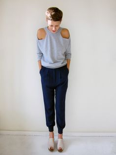 Basic grey sweatshirts are key for a sporty look.  This cut out shoulder detail would be a great DIY.