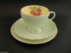 Foley Floral Vintage Bone China Trio Cup Saucer Plate Dotted Foot 2310 c1940 s