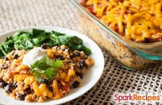 Quinoa-Black Bean Casserole Recipe  - with sweet potatoes