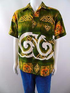 Mens Vintage 60s Evelyn Margolis Hawaiian Surf Textured Cotton Aloha Shirt M/L