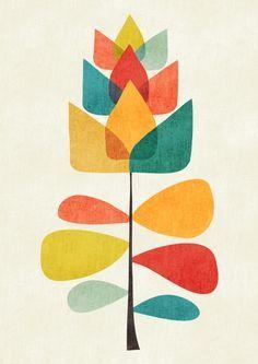 Spring Time Memory Mini Art Print by Picomodi - Without Stand - x Mid Century Modern Art, Mid Century Art, Designers Gráficos, Motif Art Deco, Illustration Art, Illustrations, Diy Art, Framed Art Prints, Flower Art