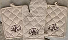 Monogrammed pot holders - cute bridal gift.