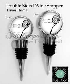 2 sided Wine Stopper - Serve me some wine - funny wine stopper - gift for wine lover - Tennis player gift by NowThatsPersonal on Etsy