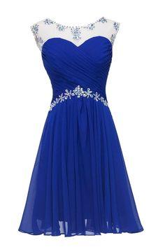 Datangep Women's Rhinestones Empire A-line Short Homecoming Dress for Juniors Green US2