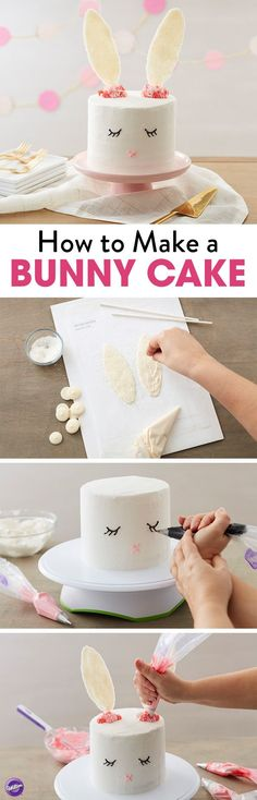 How to Make a Bunny Cake - With dreams of jelly beans, chocolates and colorful candy eggs, this Sweet Easter Bunny Cake can't wait for your Easter celebration! A sweet Easter dessert that is easy for decorators of all skill levels, this Easter bunny cake Easter Bunny Cake, Easter Treats, Easter Party, Bunny Party, Bunny Cakes, Easter Food, Easter Dinner, Bolo Laura, Desserts Ostern