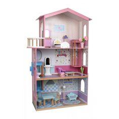 Poppenhuis SophiaEen fantastisch thuis hebben de poppen in dit huis met gedetailleerd bedrukte wanden en vloeren!Op 3 etages vinden de 15 meubeltjes van gelakt hout hun plaats en in het bed (ca. 30 x 11 x 12 cm) vallen de popjes na urenlang speelplezier heerlijk in slaap.Ook dit poppenhuis wordt door ons geimporteerd