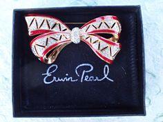 Vintage Signed Erwim Pearl bow brooch rhinestones and enamel AB857 #ErwinPearl