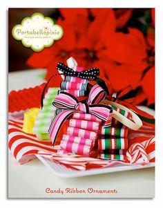 PDF tutorial, love the ribbon candy. Christmas Crafts For Gifts, Christmas Ornament Crafts, Christmas Candy, All Things Christmas, Craft Gifts, Christmas Decorations, Diy Ornaments, Xmas, Ribbon Candy
