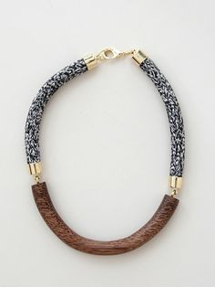 Orly Genger » Elinore Necklace - Chestnut/Heathered Hand carved wood and heathered rope necklace. Metal caps and lobster claw clasp. Made in NYC.
