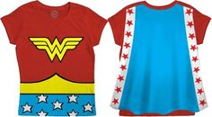 Wonder Woman Caped Children's T-Shirt -- this high-quality shirt comes with a detachable cape (in sizes T2 to 5)