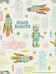 Atomic bots, robots, spaceships and rockets pattern collection by Silvia Dekker