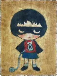 Knitting Girl Hero print by jamfancy on Etsy