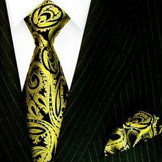 LORENZO CANA - Luxury Italian 100% Pure Silk Tie Hanky Set Yellow Gold Black Paisley Necktie - 8444801 LORENZO CANA http://www.amazon.com/dp/B00B9JRMPM/ref=cm_sw_r_pi_dp_ELkmub10N9GAK