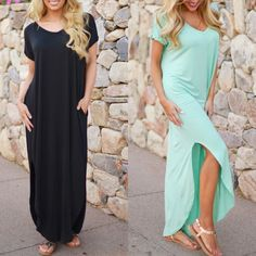 CHARLIZE solid boho dress - ROYAL/MINT/BLACK LOOSE FIT LONG DRESS WITH POCKET AND SIDE OPEN DETAIL.  Available in mint, black  & royal blue (S & M) Bellanblue Dresses Maxi
