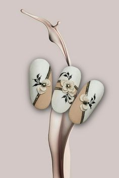 Manicure Nail Designs, Nail Art Designs Videos, Long Nail Designs, Manicure E Pedicure, 3d Acrylic Nails, 3d Nails, Acrylic Nail Designs, Rose Nail Art, Floral Nail Art
