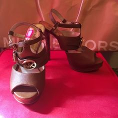 Michael Kors Saffiano Leather heel Tan leather perfect for spring and summer. NEVER WORN! Size 8 1/2 M. Michael Kors Shoes Heels