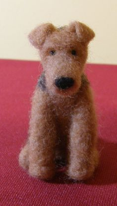 Mini Airedale in Needle Felted Wool by 8muddyfeet on Etsy, $25.00