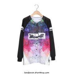 HARAJUKU holographic RAINBOW print shirt